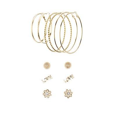 Love Hoop & Stud Earrings Set