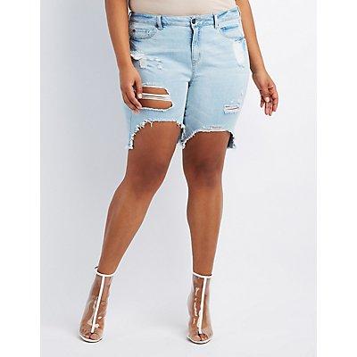 Plus Size Refuge Bermuda Cut-Off Denim Shorts