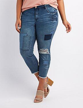 Plus Size Refuge Patchwork Boyfriend Destroyed Jeans