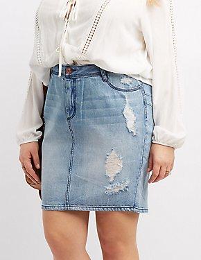 Plus Size Refuge Destroyed Denim Pencil Skirt