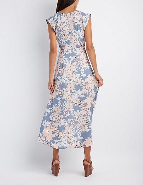 Floral Flutter Sleeve Maxi Dress | Charlotte Russe