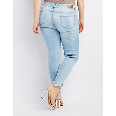 Plus Size Dollhouse Destroyed Skinny Jeans | Charlotte Russe