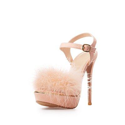 Feather Two-Piece Platform Sandals