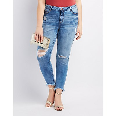 Plus Size Refuge Skin Tight Legging Destroyed Jeans