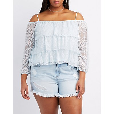 Plus Size Tiered Lace Cold Shoulder Top