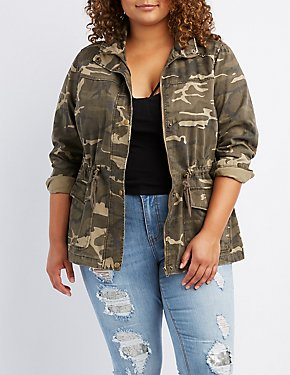 Plus Size Palm Springs Camo Anorak Jacket