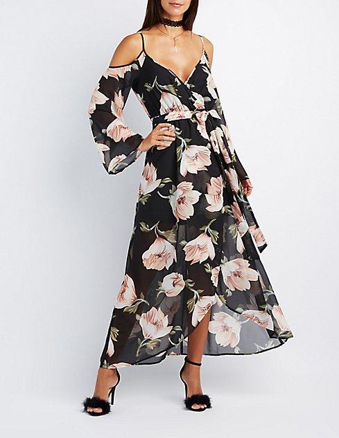 Floral Cold Shoulder Maxi Dress | Charlotte Russe