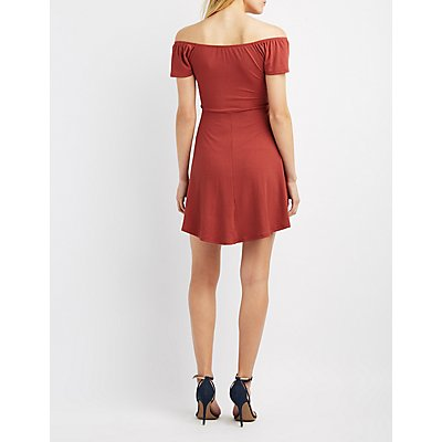 Ribbed & Ruched Skater Dress