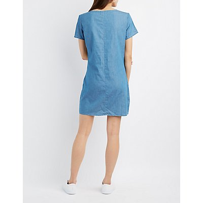Chambray Lace-Up Shift Dress