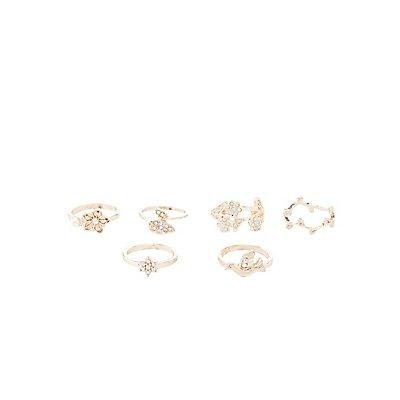 Embellished Flora Stackable Rings - 6 Pack