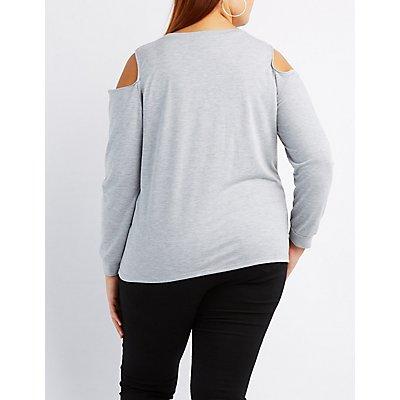 Plus Size Nap Queen Cold Shoulder Sweatshirt