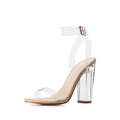 Bamboo Clear Strap Lucite Heel Sandals