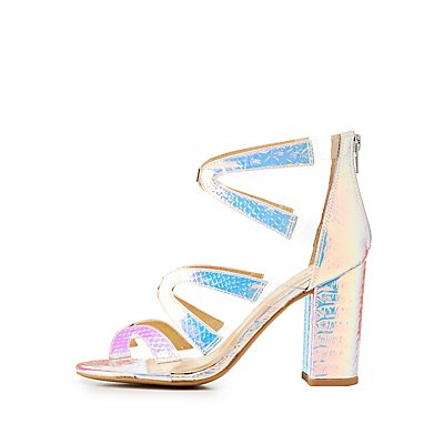 Qupid Iridescent Floating Strap Caged Sandals