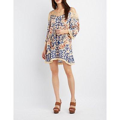 Floral Crochet-Trim Cold Shoulder Dress