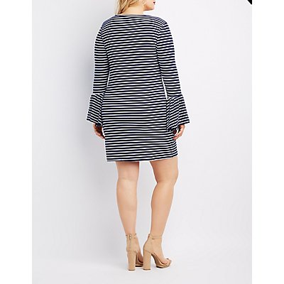 Plus Size Striped Bell Sleeve Dress