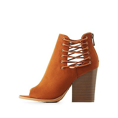 Bamboo Peep Toe Lace-Up Sides Booties