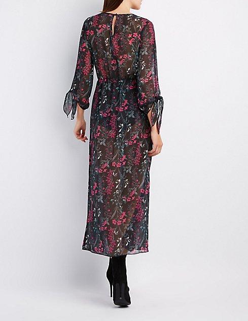 Floral V-Neck Maxi Dress | Charlotte Russe