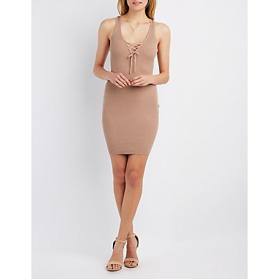 Lace-Up Racerback Bodycon Dress