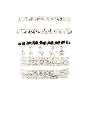 Embellished Star Layering Bracelets - 4 Pack