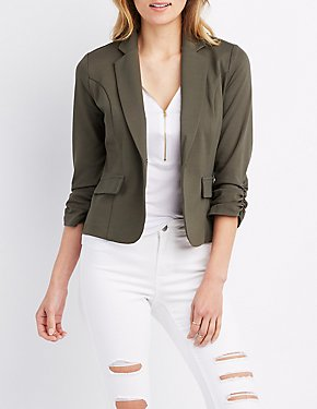 Ruched Sleeve Pocket Blazer