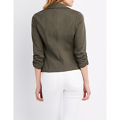 Ruched Sleeve Pocket Blazer
