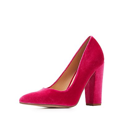 Velvet Pointed Toe Pumps