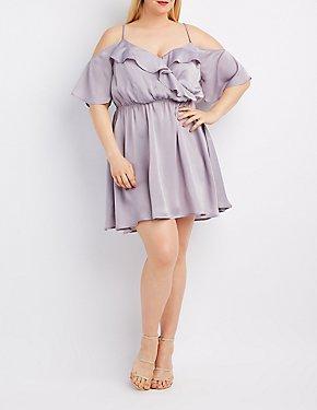 Plus Size Ruffle Surplice Cold Shoulder Dress
