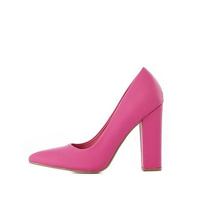 Pointed Toe Block Heel Pumps