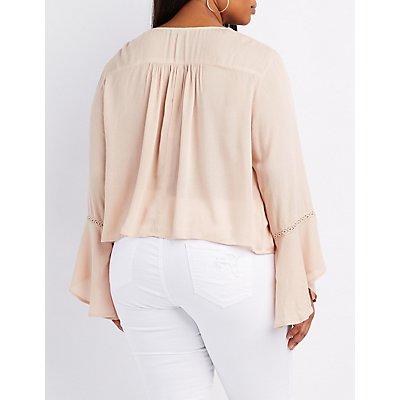 Plus Size Crochet-Trim Bell Sleeve Top