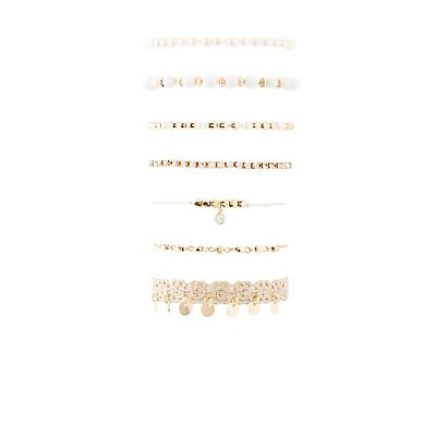 Beaded, Crochet & Rhinestone Layering Bracelet - 7 Pack