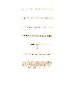 Beaded, Crochet & Rhinestone Layering Bracelet - 7 Pack