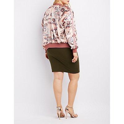 Plus Size Floral Satin Bomber Jacket