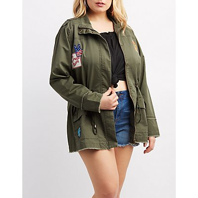 Plus Size Frayed Patch Anorak Jacket