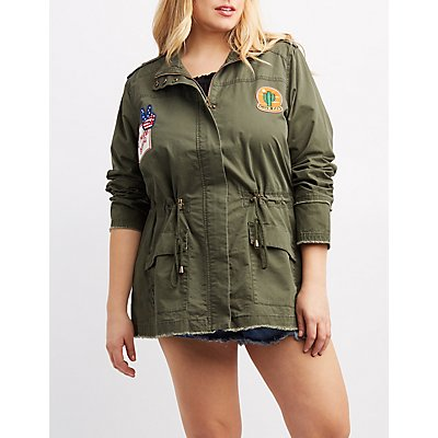 Plus Size Frayed Patch Anorak Jacket