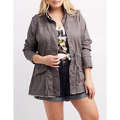 Plus Size Frayed Drawstring Anorak Jacket