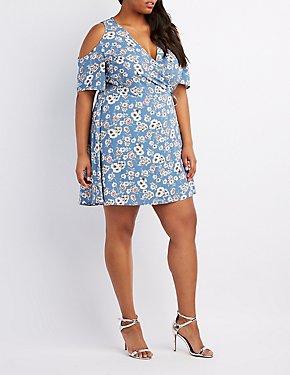Plus Size Floral Cold Shoulder Wrap Dress