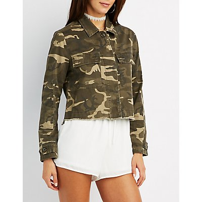 Camo Cropped Anorak Jacket