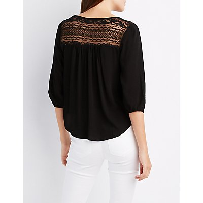 Lace-Trim Crew Neck Blouse