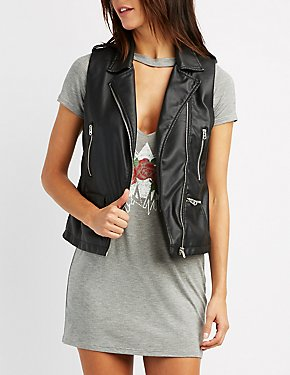 Faux Leather Moto Vest