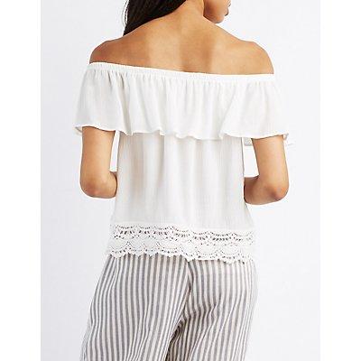 Off-The-Shoulder Crochet-Trim Top