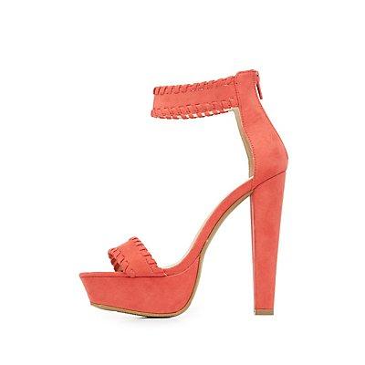 Whipstitch Two-Piece Platform Sandals