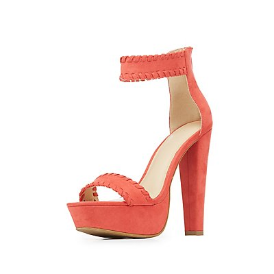 Whipstitch Two-Piece Platform Sandals