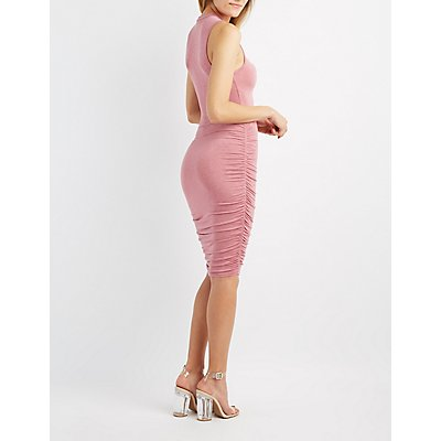 Mock Neck Ruched Bodycon Dress
