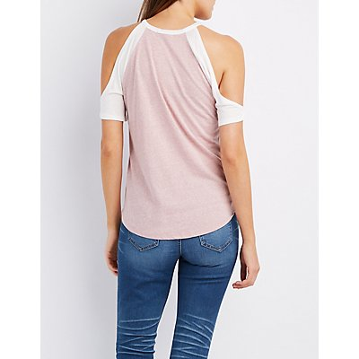Cold Shoulder Baseball Tee