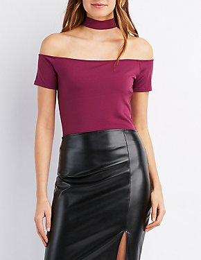 Choker Neck Off-The-Shoulder Crop Top