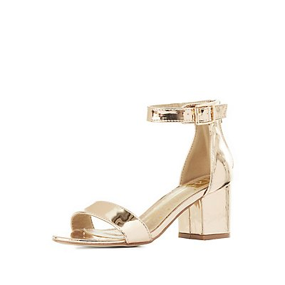 Metallic Two-Piece Sandals