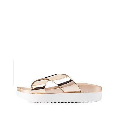 Metallic Flatform Slide Sandals