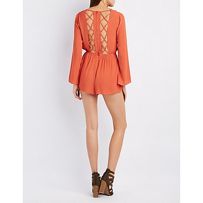 Lattice-Back Bell Sleeve Romper