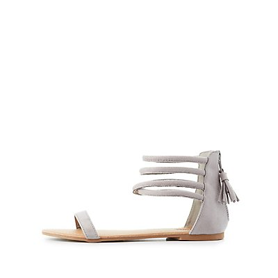 Tubular Tassel-Back Sandals