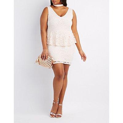 Plus Size Lace Mock Neck Peplum Dress